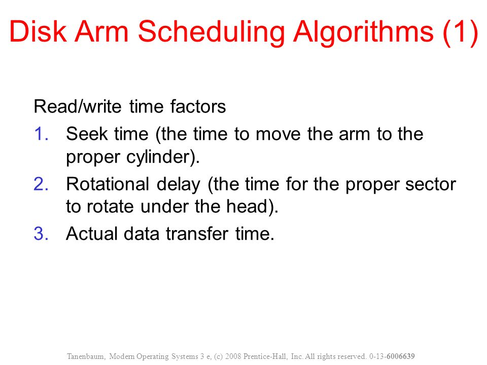 Disk Arm Scheduling Algorithms (1)