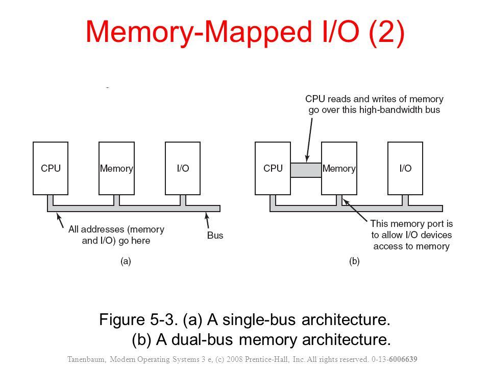 Memory-Mapped I/O (2) Figure 5-3. (a) A single-bus architecture. (b) A dual-bus memory architecture.