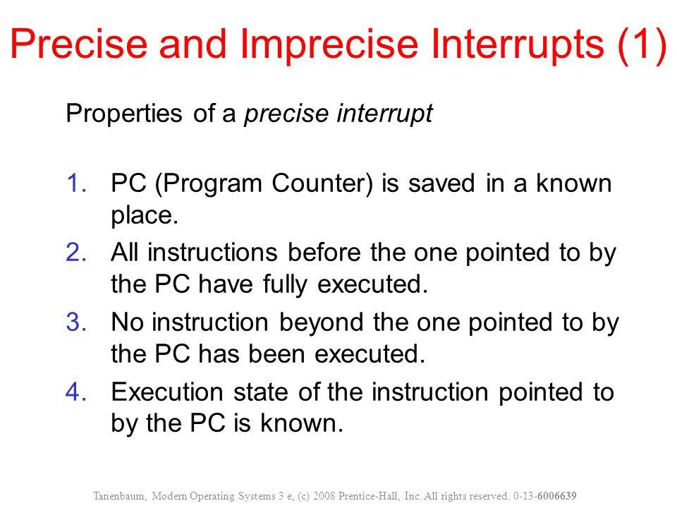 Precise and Imprecise Interrupts (1)