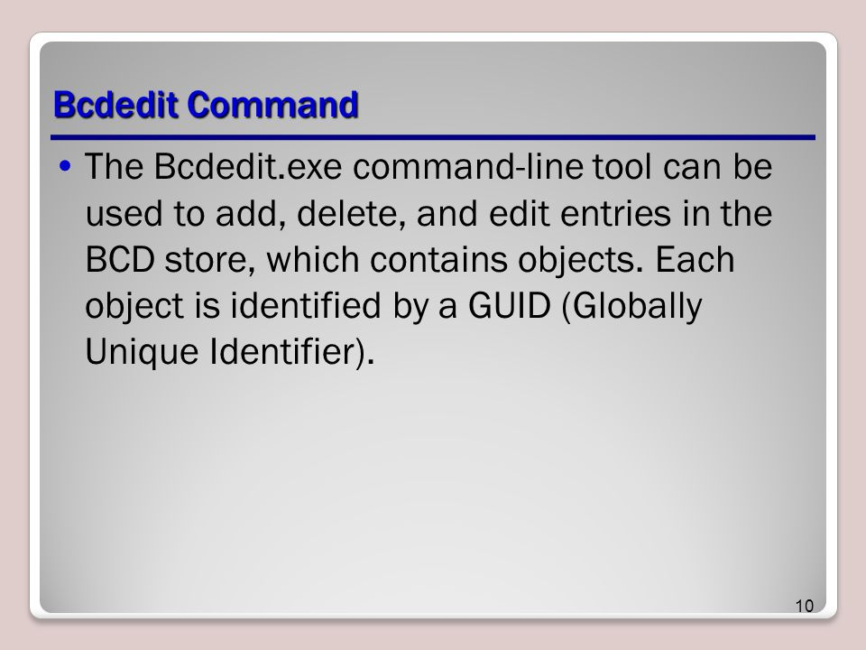 Bcdedit Command