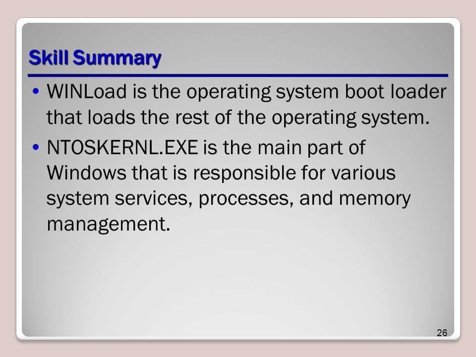Skill Summary WINLoad is the operating system boot loader that loads the rest of the operating system.
