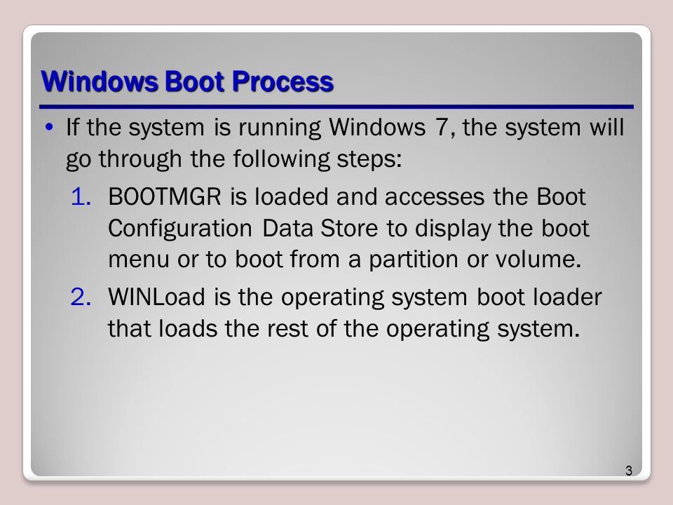 Windows Boot Process If the system is running Windows 7, the system will go through the following steps: