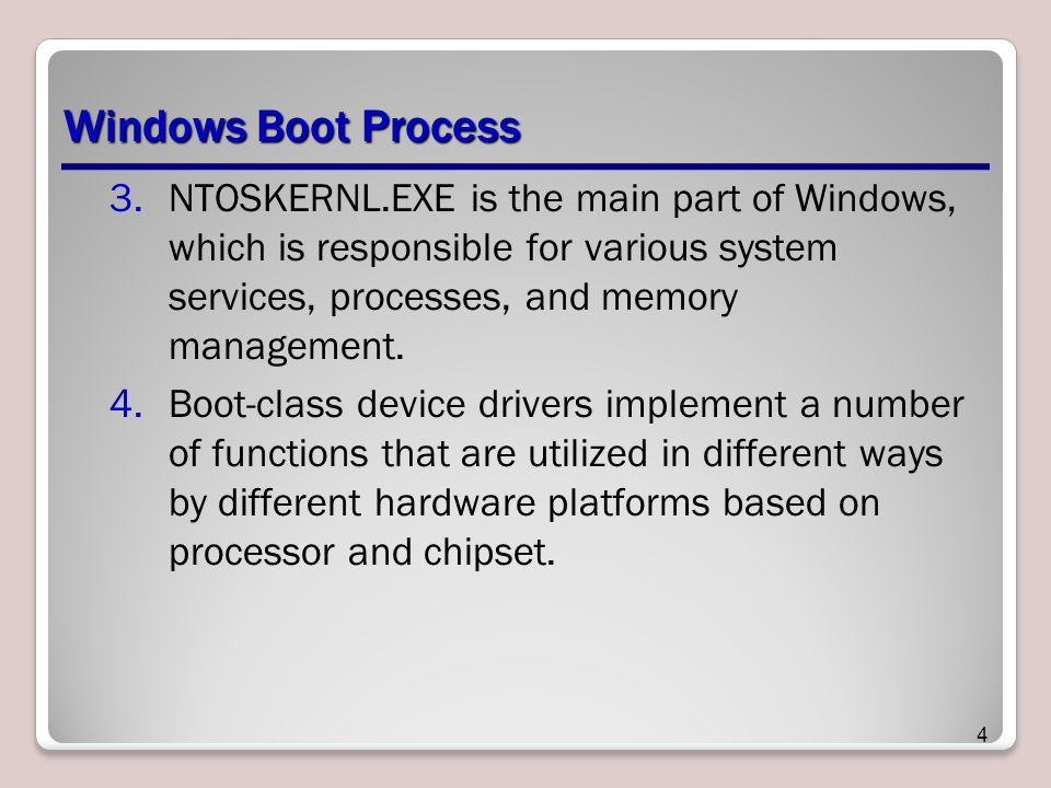 Windows Boot Process NTOSKERNL.EXE is the main part of Windows, which is responsible for various system services, processes, and memory management.