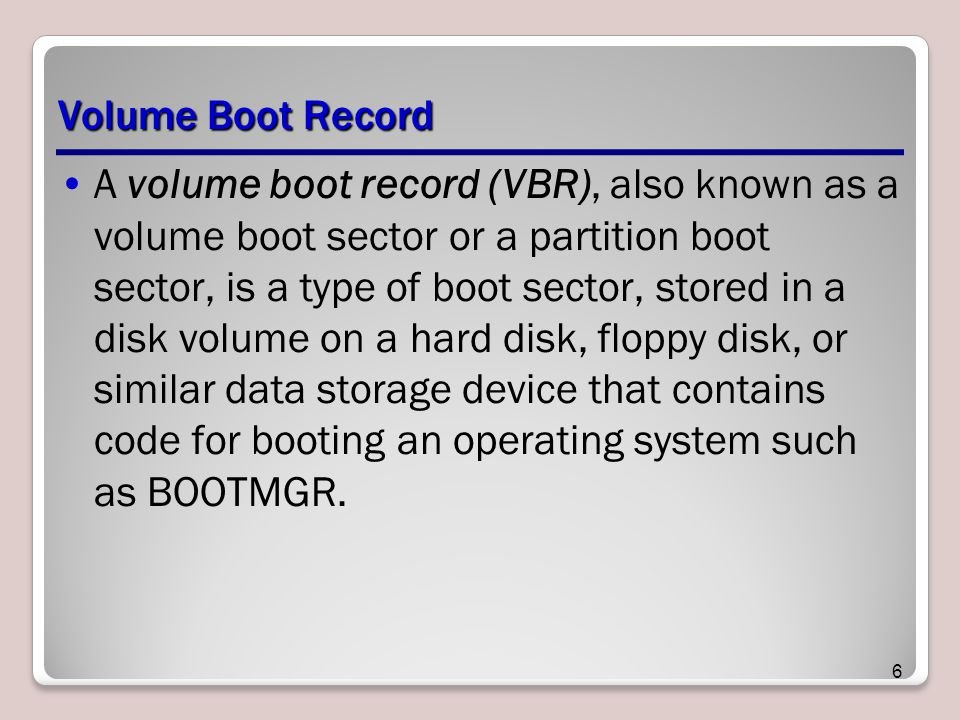 Volume Boot Record