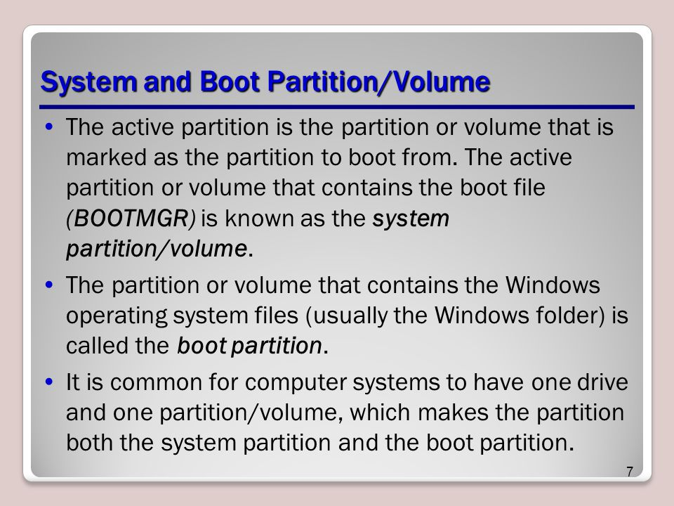 System and Boot Partition/Volume
