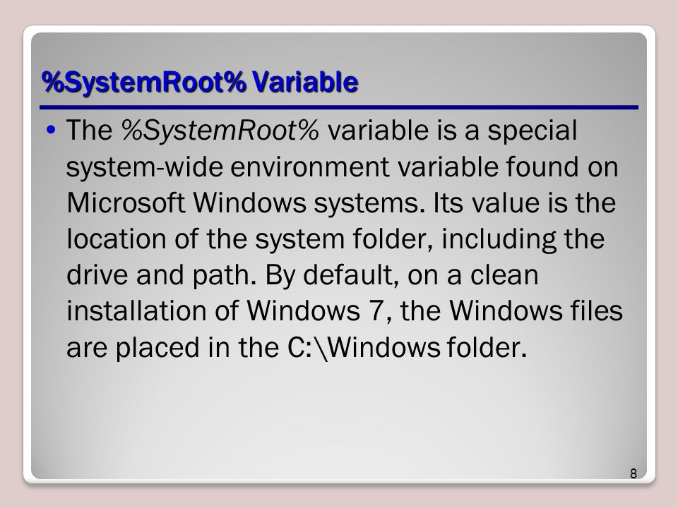 %SystemRoot% Variable