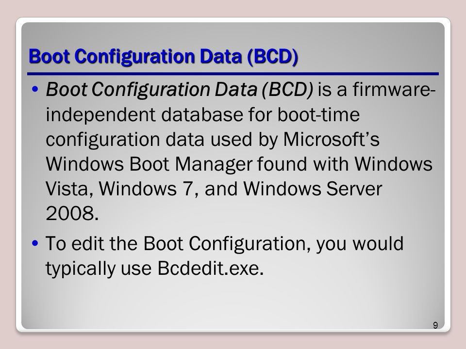 Boot Configuration Data (BCD)