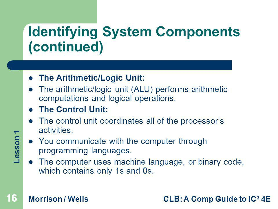 Identifying System Components (continued)