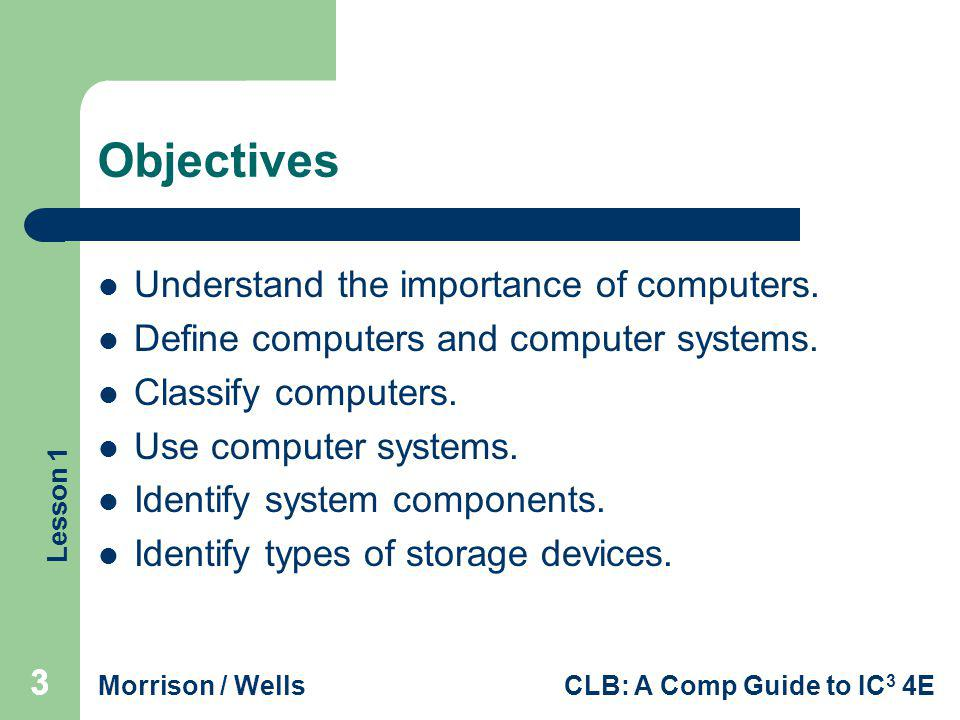 Objectives Understand the importance of computers.