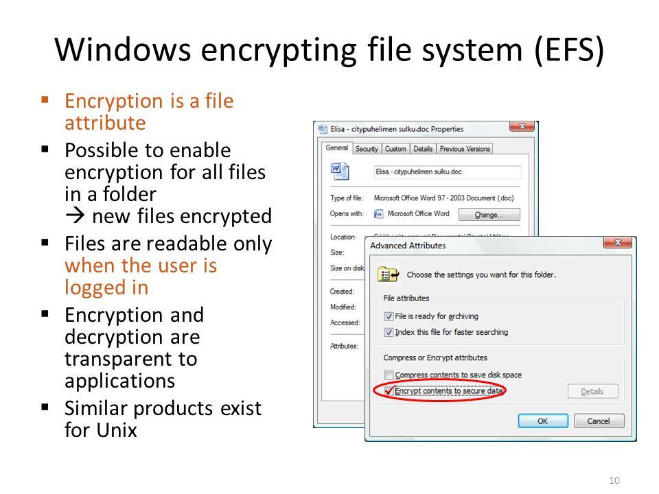 Windows encrypting file system (EFS)