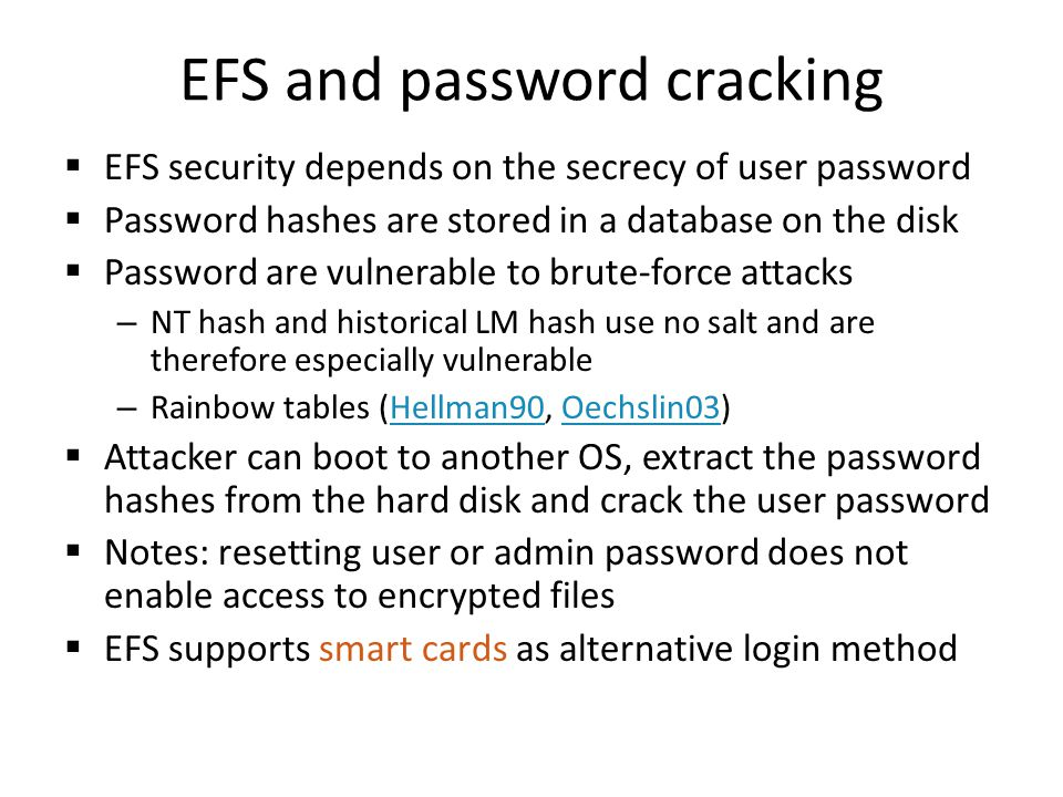 EFS and password cracking