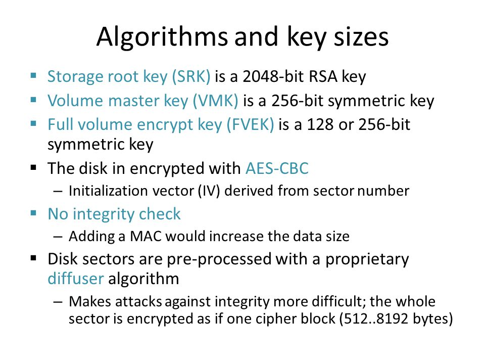Algorithms and key sizes
