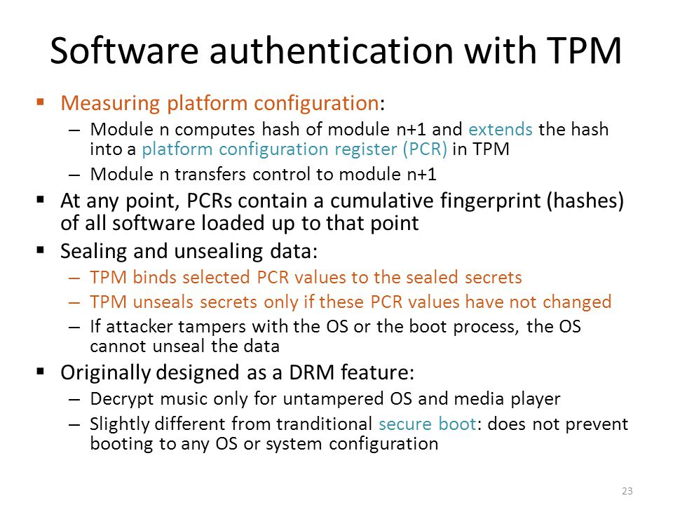 Software authentication with TPM