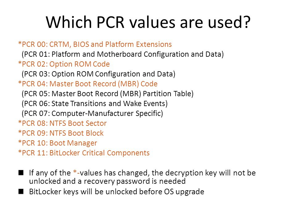 Which PCR values are used