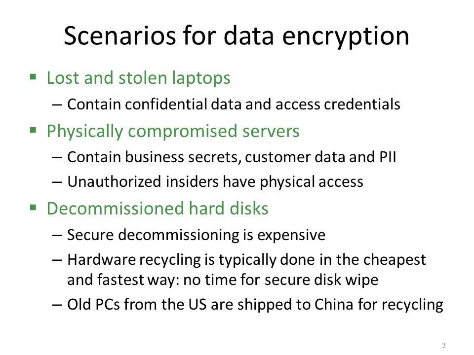 Scenarios for data encryption