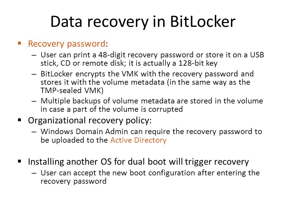 Data recovery in BitLocker