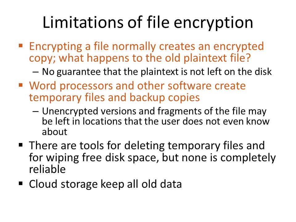 Limitations of file encryption