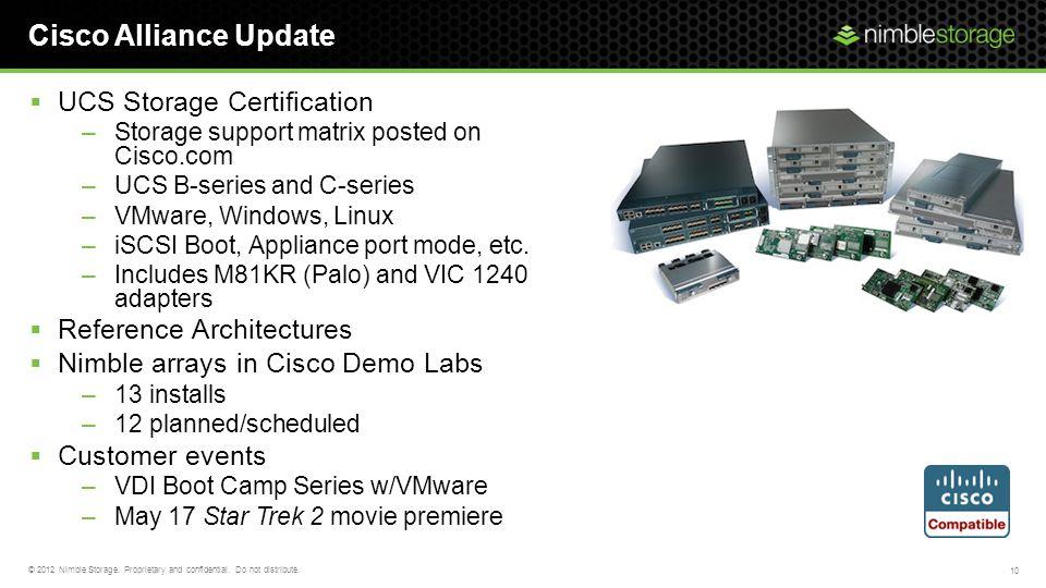 Cisco Alliance Update UCS Storage Certification