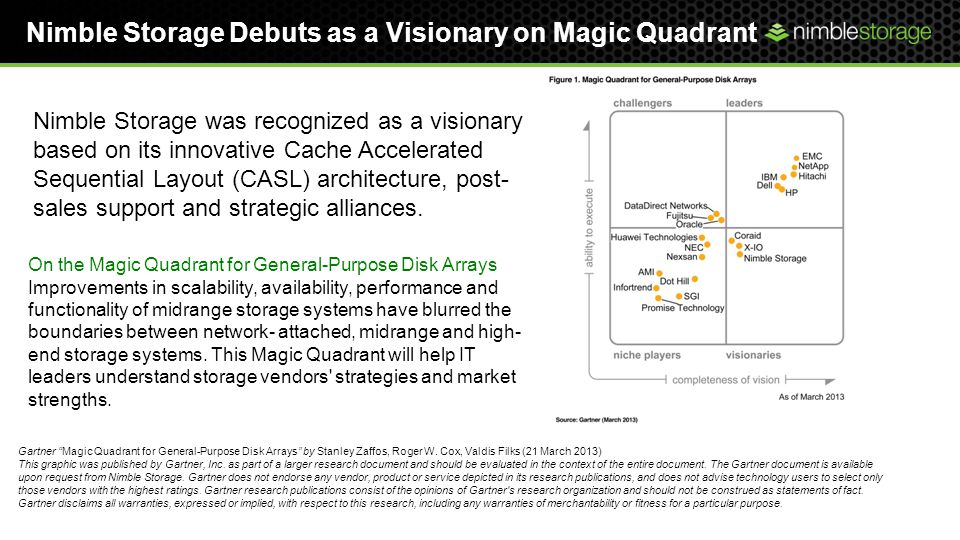 Nimble Storage Debuts as a Visionary on Magic Quadrant