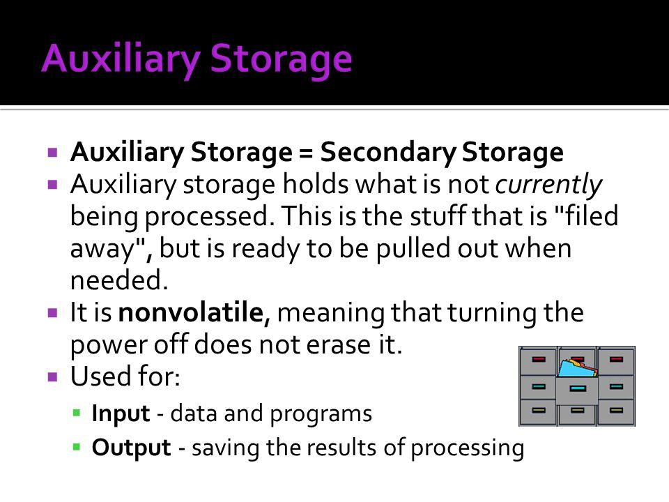 Auxiliary Storage Auxiliary Storage = Secondary Storage