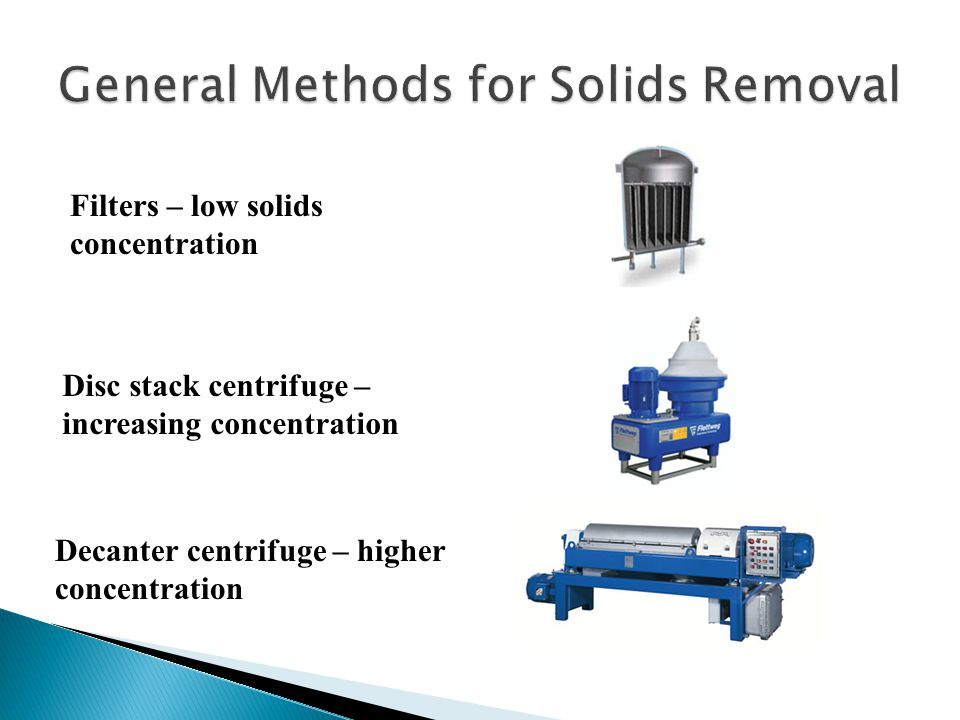 General Methods for Solids Removal