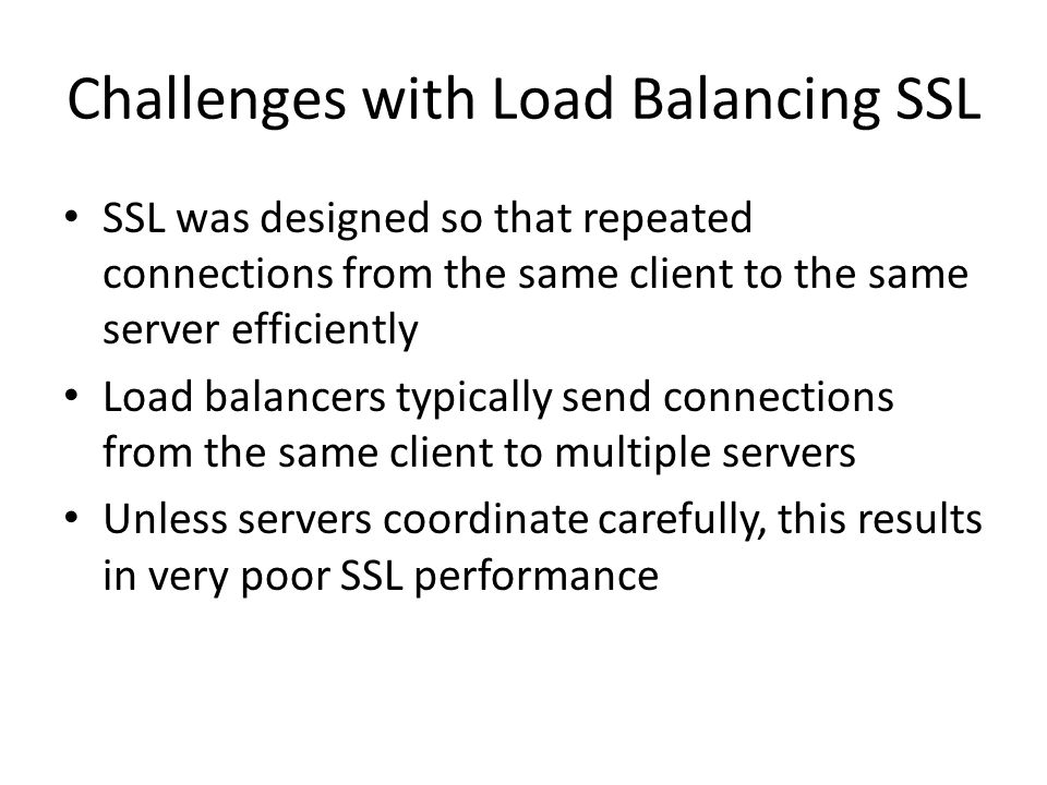 Challenges with Load Balancing SSL