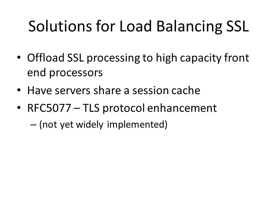 Solutions for Load Balancing SSL