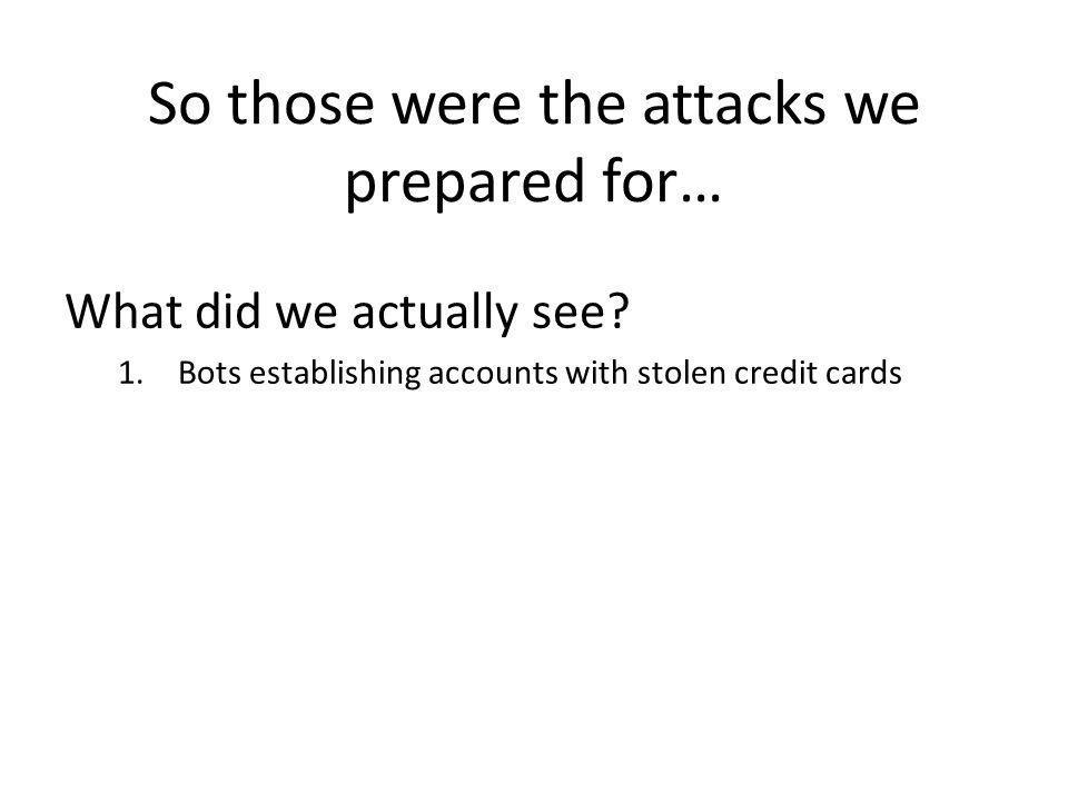 So those were the attacks we prepared for…