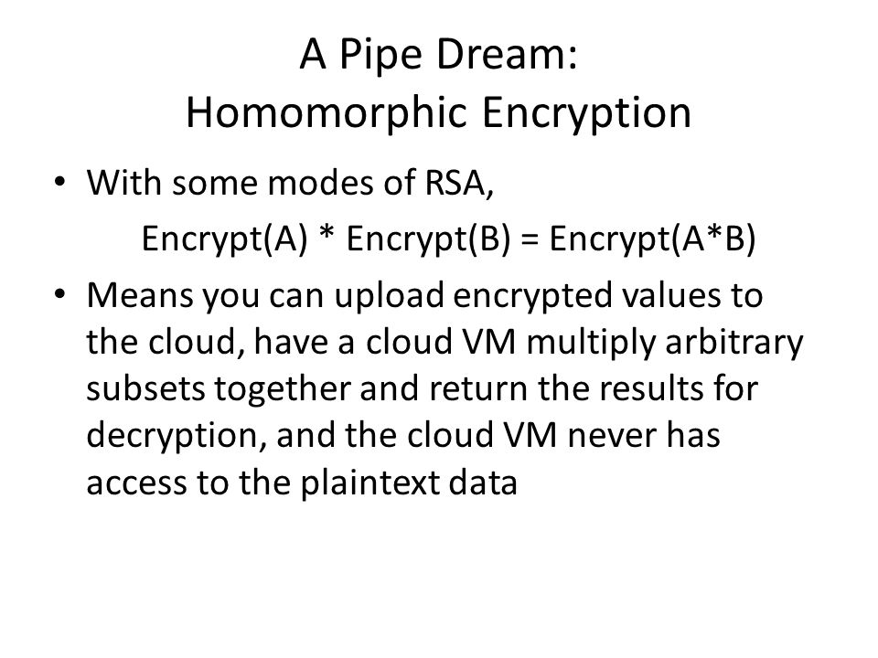 A Pipe Dream: Homomorphic Encryption