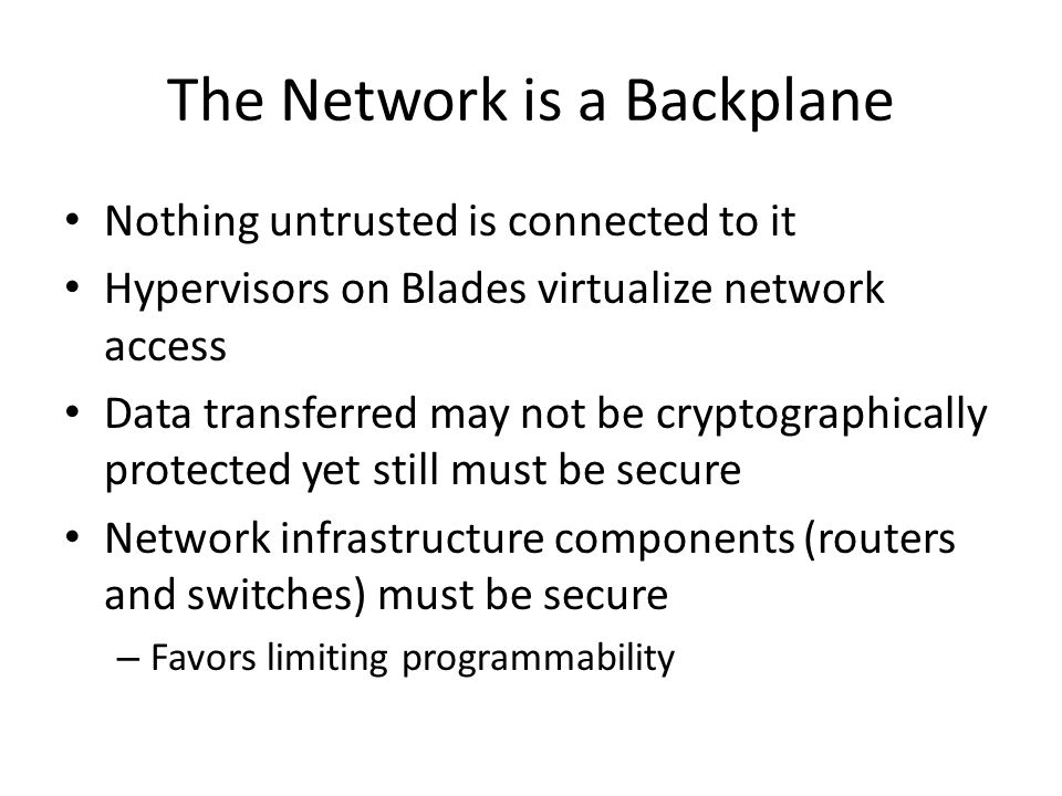 The Network is a Backplane