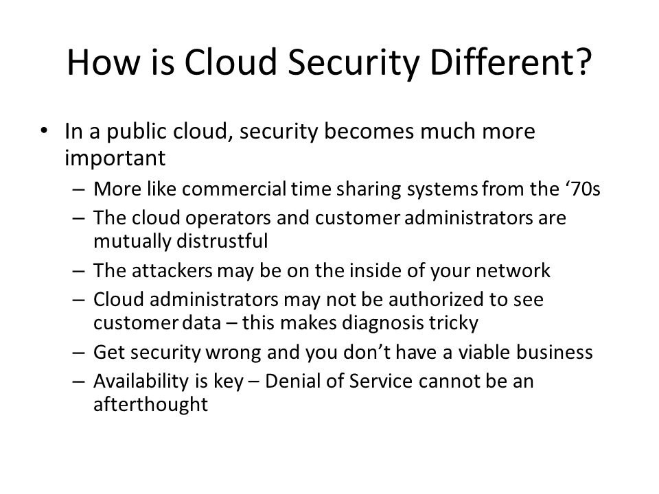 How is Cloud Security Different
