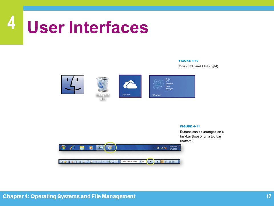 User Interfaces Chapter 4: Operating Systems and File Management
