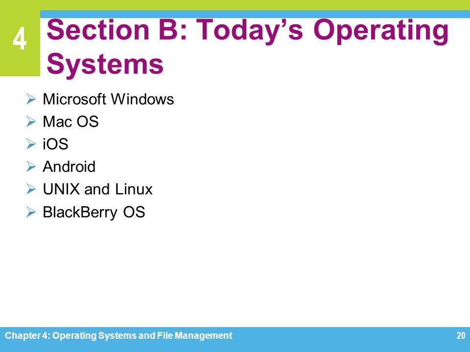 Section B: Today's Operating Systems