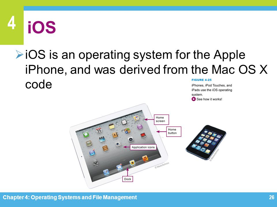 iOS iOS is an operating system for the Apple iPhone, and was derived from the Mac OS X code. Figure 4-25.