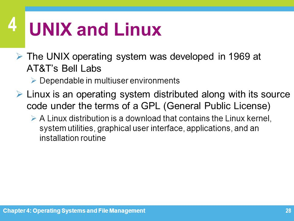 UNIX and Linux The UNIX operating system was developed in 1969 at AT&T's Bell Labs. Dependable in multiuser environments.