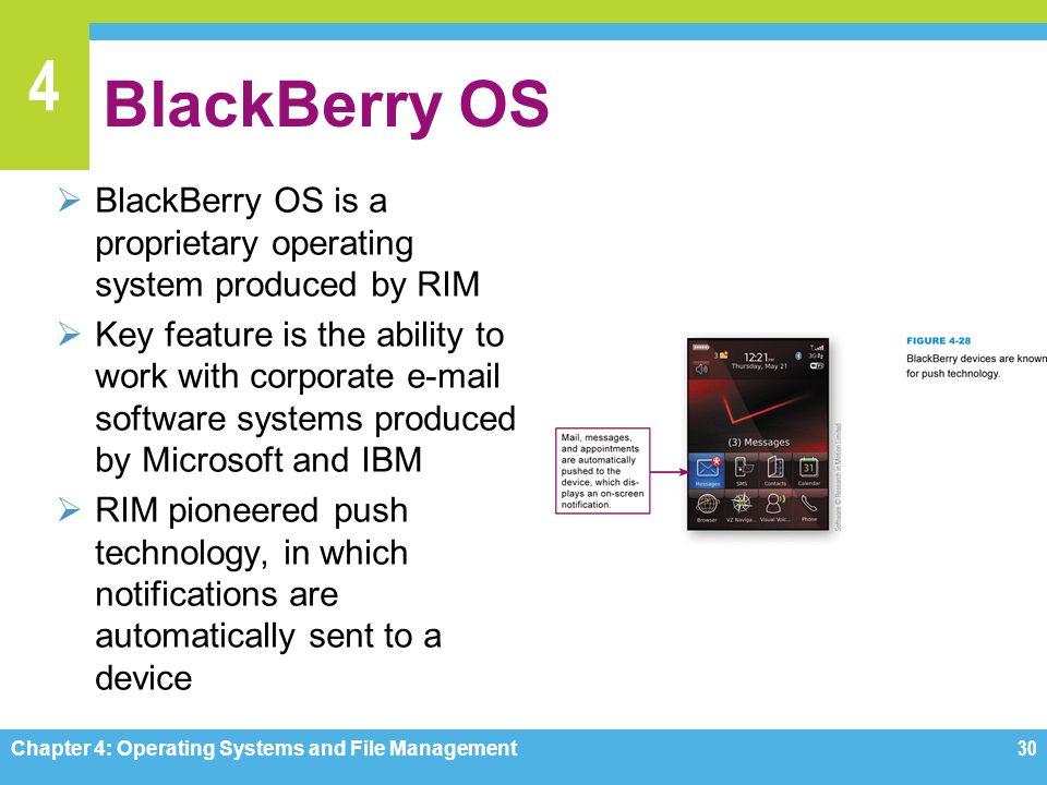 BlackBerry OS BlackBerry OS is a proprietary operating system produced by RIM.