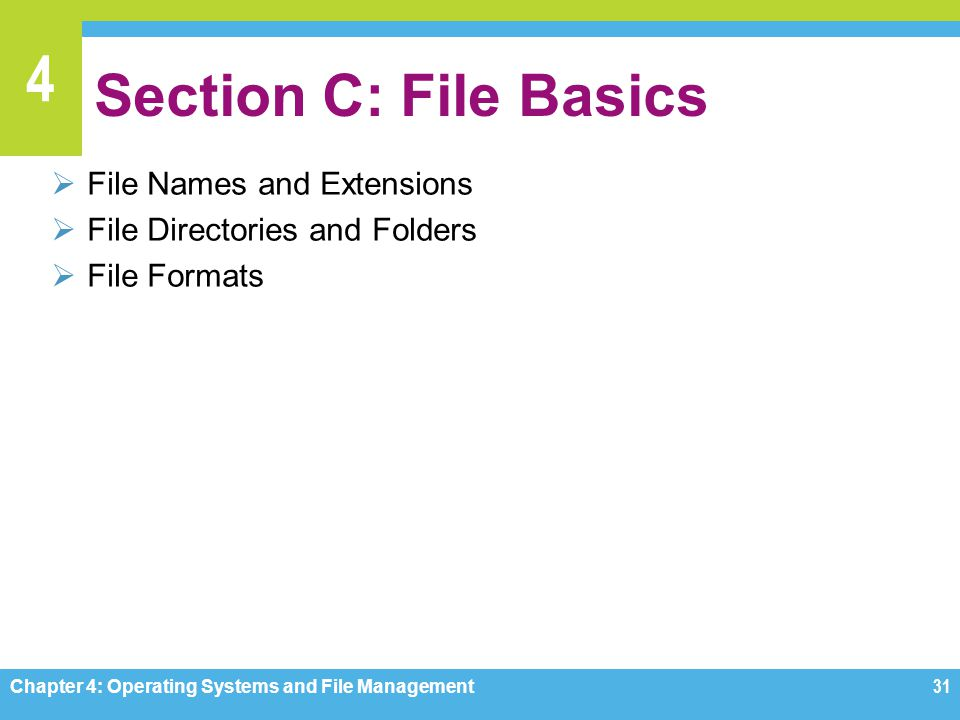 Section C: File Basics File Names and Extensions