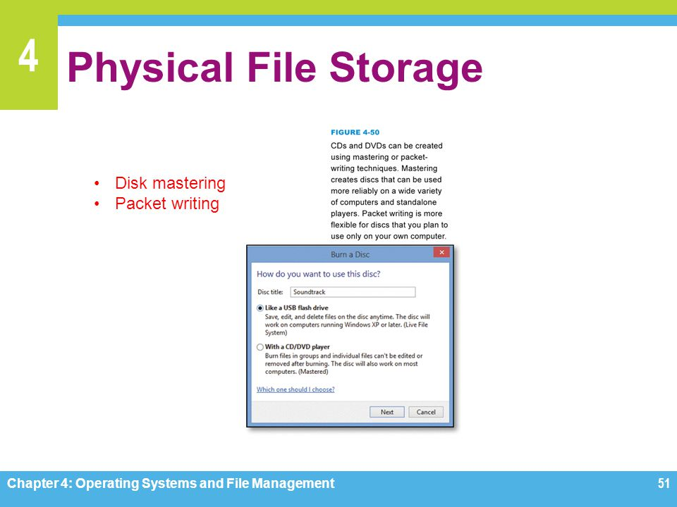 Physical File Storage Disk mastering Packet writing
