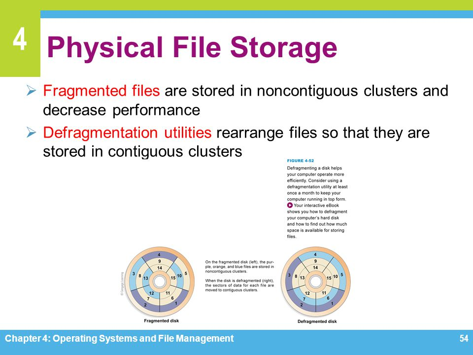 Physical File Storage Fragmented files are stored in noncontiguous clusters and decrease performance.