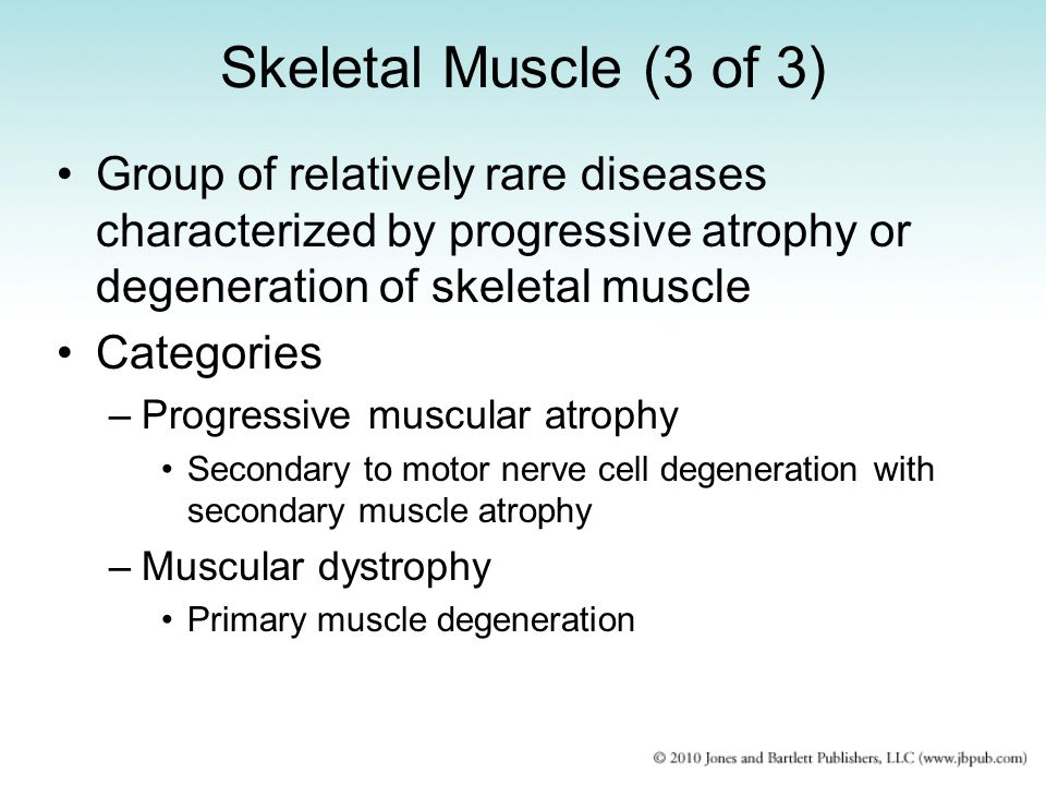 Skeletal Muscle (3 of 3) Group of relatively rare diseases characterized by progressive atrophy or degeneration of skeletal muscle.