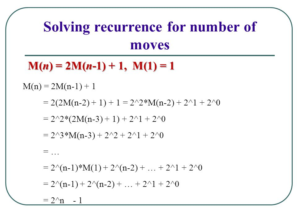 Solving recurrence for number of moves