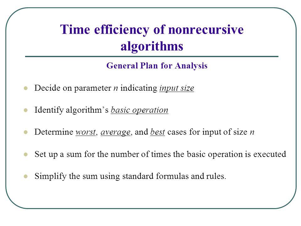 Time efficiency of nonrecursive algorithms