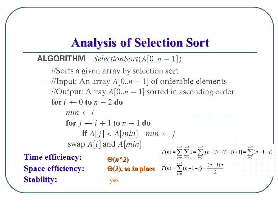 Analysis of Selection Sort