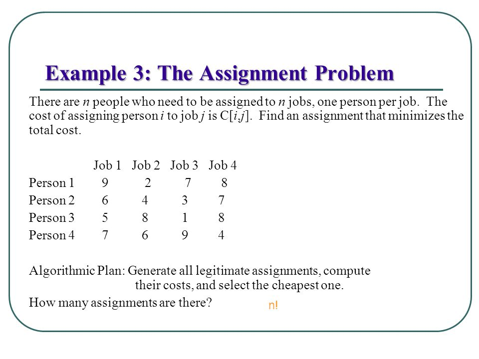 Example 3: The Assignment Problem