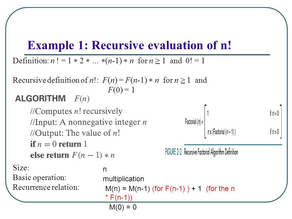 Example 1: Recursive evaluation of n!