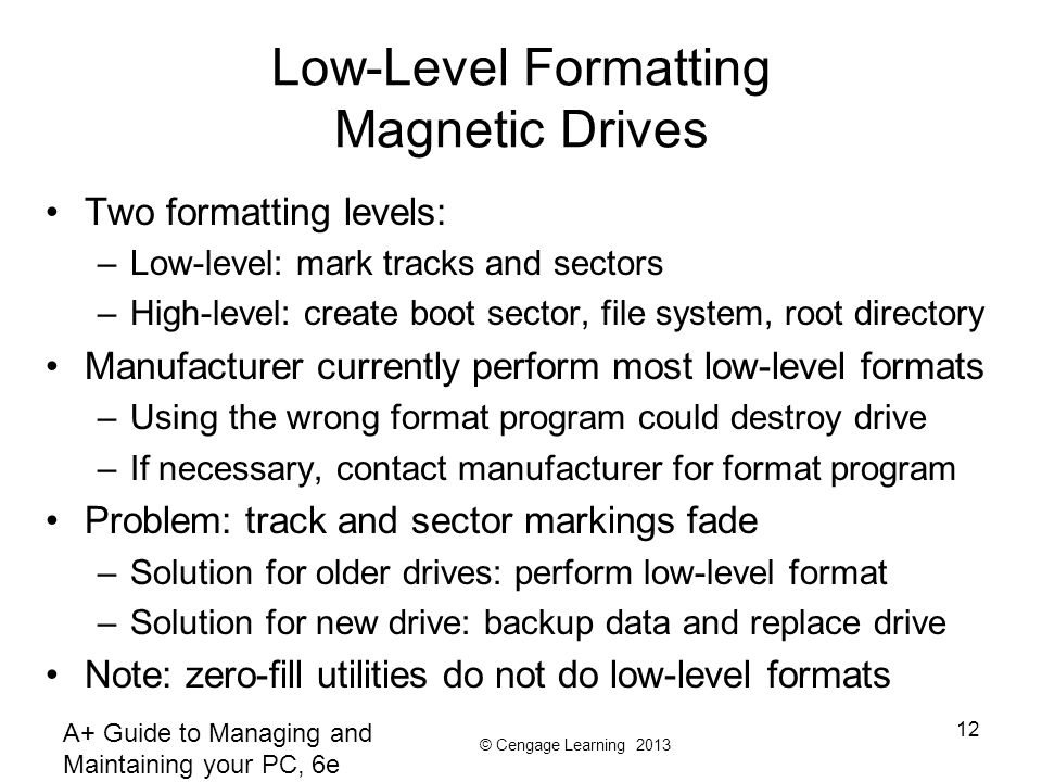 Low-Level Formatting Magnetic Drives