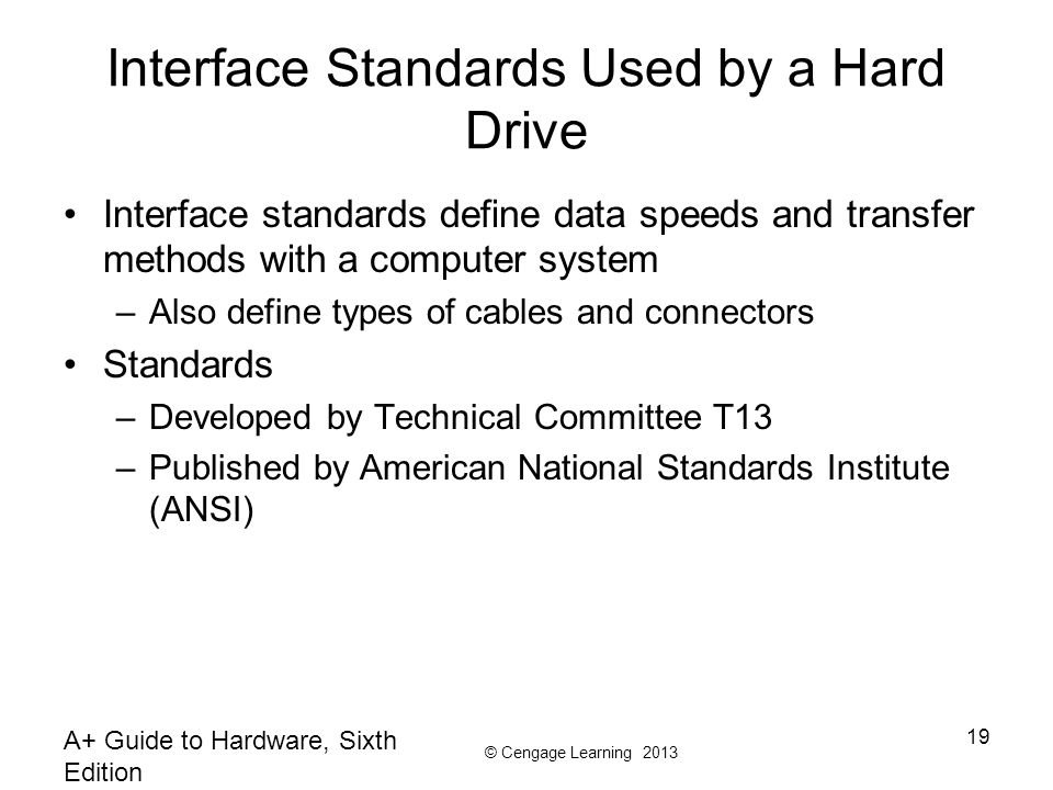 Interface Standards Used by a Hard Drive