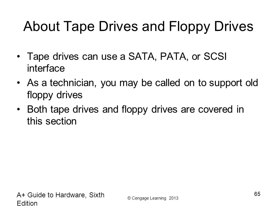 About Tape Drives and Floppy Drives