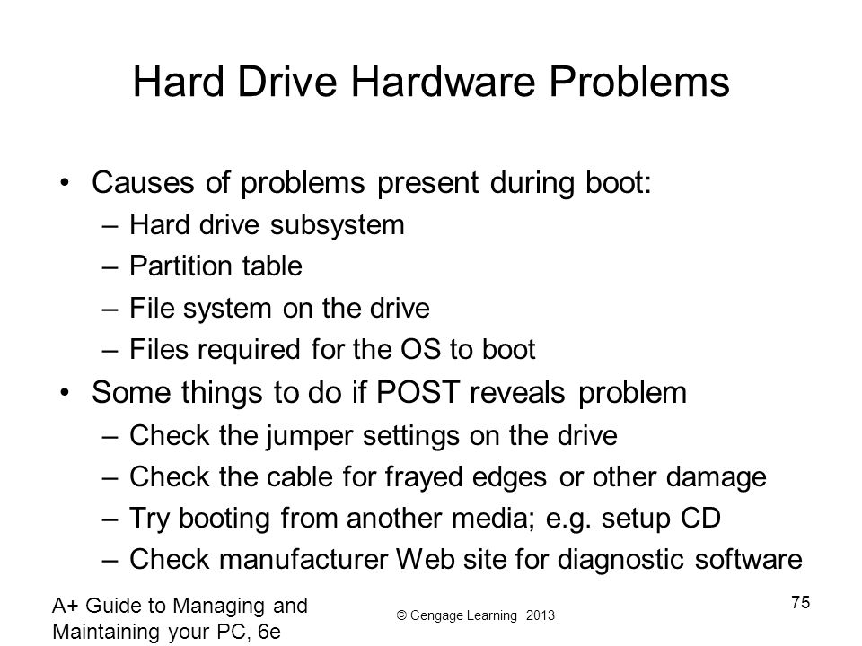 Hard Drive Hardware Problems