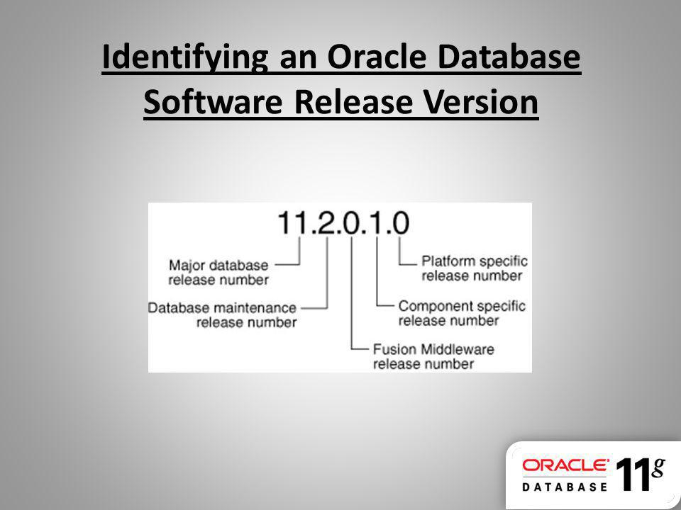 Identifying an Oracle Database Software Release Version